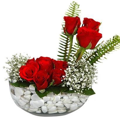 cam içerisinde 9 adet kirmizi gül  Ordu çiçekçiler
