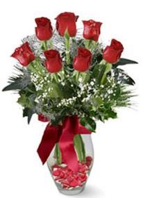 Ordu internetten çiçek satışı  7 adet kirmizi gül cam vazo yada mika vazoda