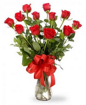 Ordu çiçekçi telefonları  12 adet kırmızı güllerden vazo tanzimi