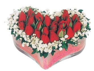 Ordu çiçek yolla  mika kalpte kirmizi güller 9