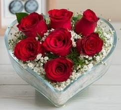 Kalp içerisinde 7 adet kırmızı gül  Ordu çiçek yolla , çiçek gönder , çiçekçi