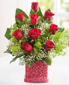 Cam içerisinde 9 adet kırmızı gül  Ordu çiçekçi mağazası