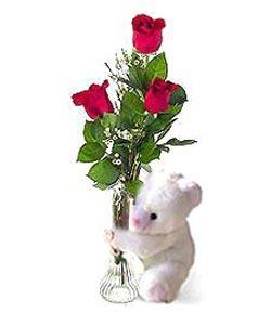 oyuncak ve 3 adet gül  Ordu hediye çiçek yolla