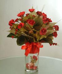 yapay güllerden vazo  9 gül  Ordu cicek , cicekci
