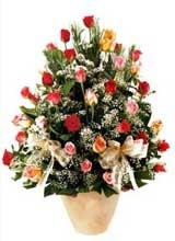 91 adet renkli gül aranjman   Ordu çiçek yolla , çiçek gönder , çiçekçi
