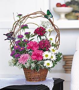 Ordu online çiçek gönderme sipariş  sepet içerisinde karanfil gerbera ve kir çiçekleri