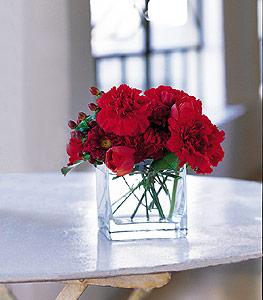Ordu çiçek satışı  kirmizinin sihri cam içinde görsel sade çiçekler