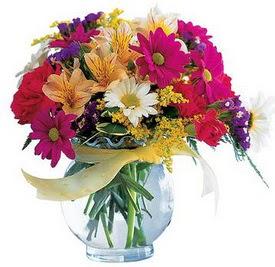 Ordu çiçekçi mağazası  cam yada mika içerisinde karisik mevsim çiçekleri