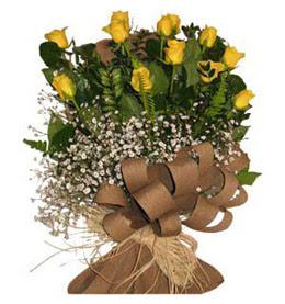 Ordu İnternetten çiçek siparişi  9 adet sari gül buketi