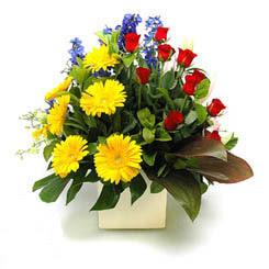 Ordu internetten çiçek siparişi  9 adet gül ve kir çiçekleri cam yada mika vazoda