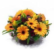 gerbera ve kir çiçek masa aranjmani  Ordu çiçekçiler