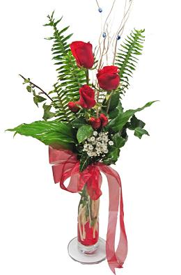 Çiçek gönderin cam vazoda 3 gül çiçekleri  Ordu hediye çiçek yolla
