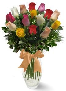 15 adet vazoda renkli gül  Ordu çiçekçi mağazası