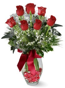 7 adet vazoda gül  Ordu çiçekçi mağazası  kirmizi gül