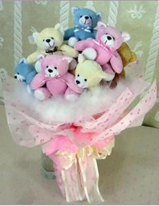 9 adet ayiciktan buket  Ordu hediye sevgilime hediye çiçek