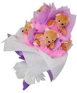 9 adet ayiciktan buket  Ordu 14 şubat sevgililer günü çiçek