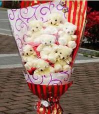 11 adet pelus ayicik buketi  Ordu çiçek satışı
