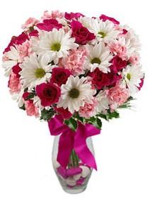 Ordu hediye çiçek yolla  Karisik mevsim kir çiçegi vazosu