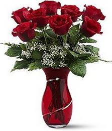 Vazo içinde 8 adet kirmizilar içinde güller  Ordu internetten çiçek satışı