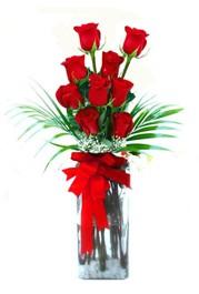 Ordu çiçek yolla  9 adet mika yada cam vazoda gül tanzimi