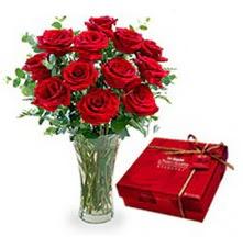 Ordu ucuz çiçek gönder  10 adet cam yada mika vazoda gül çikolata
