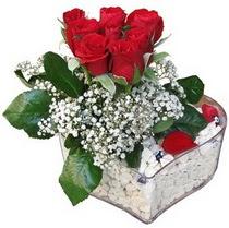 Ordu çiçek mağazası , çiçekçi adresleri  kalp mika içerisinde 7 adet kirmizi gül
