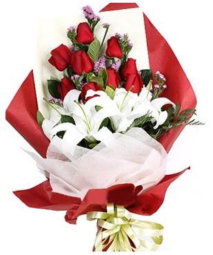 Ordu çiçek siparişi sitesi  1 dal kazablankaa 9 adet kırmızı gül buketi