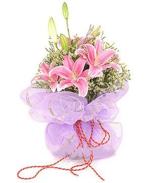 3 dal kazablanka görsel buketi  Ordu çiçekçi mağazası
