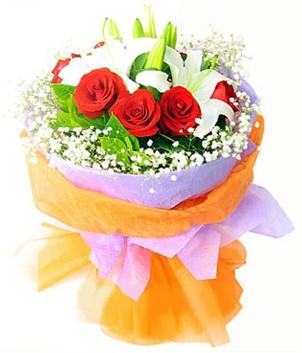 Ordu çiçek yolla , çiçek gönder , çiçekçi   1 dal kazablanka 7 adet kırmızı gül buketi