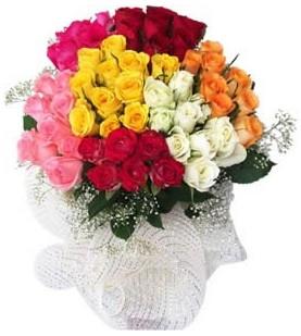 Ordu çiçek yolla  51 adet farklı renklerde gül buketi