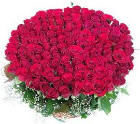 Ordu güvenli kaliteli hızlı çiçek  100 adet kırmızı gülden görsel buket