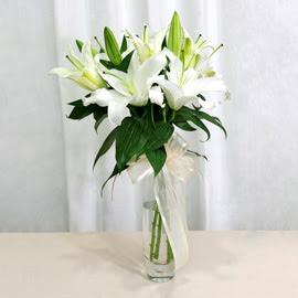 Ordu uluslararası çiçek gönderme  2 dal kazablanka ile yapılmış vazo çiçeği