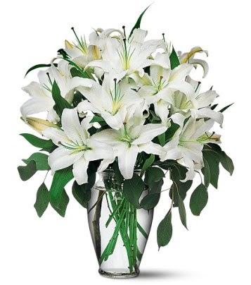 Ordu çiçekçi mağazası  4 dal kazablanka ile görsel vazo tanzimi