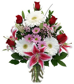 Ordu çiçek online çiçek siparişi  1 dal kazablanka 5 gül ve kırçiçeği vazosu
