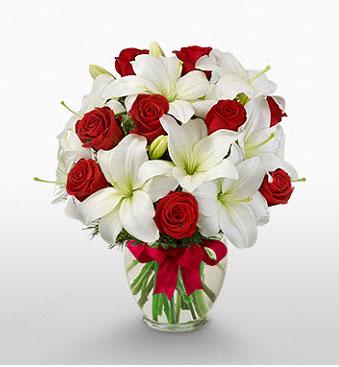 Ordu çiçek , çiçekçi , çiçekçilik  1 dal kazablanka 11 adet kırmızı gül vazosu