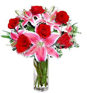 Ordu İnternetten çiçek siparişi  1 dal cazablanca ve 6 kırmızı gül çiçeği