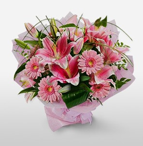 1 dal kazablanka ve kır çiçek görsel buketi  Ordu çiçekçi mağazası
