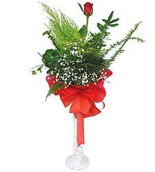 Ordu uluslararası çiçek gönderme  Cam vazoda masum tek gül