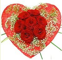 Mika kalp içerisinde 7 adet kırmızı gül  Ordu ucuz çiçek gönder