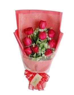 9 adet kırmızı gülden görsel buket  Ordu çiçek satışı