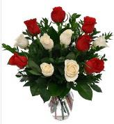 Vazo içerisinde 6 kırmızı 6 beyaz gül  Ordu çiçek , çiçekçi , çiçekçilik