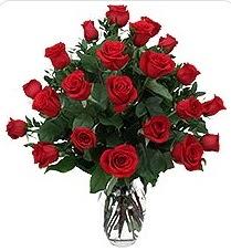 Ordu hediye çiçek yolla  24 adet kırmızı gülden vazo tanzimi