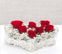 kalp içerisinde 7 adet kırmızı gül  Ordu çiçekçiler