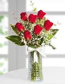 Cam vazoda 7 adet kırmızı gül  Ordu çiçekçi telefonları