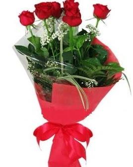 5 adet kırmızı gülden buket  Ordu çiçek servisi , çiçekçi adresleri