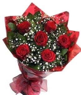 6 adet kırmızı gülden buket  Ordu kaliteli taze ve ucuz çiçekler