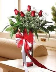 Camda 5 kırmızı gül tanzimi  Ordu çiçek yolla