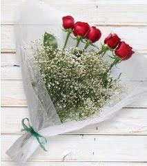 5 kırmızı gülden sade buket  Ordu İnternetten çiçek siparişi