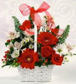 Karışık rengarenk mevsim çiçek sepeti  Ordu internetten çiçek satışı
