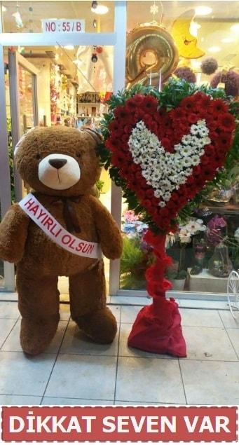1.5 Metre peluş ayı ve Kalp  Ordu çiçek yolla , çiçek gönder , çiçekçi